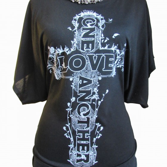 Love One Another Flowy Draped Sleeve Tee