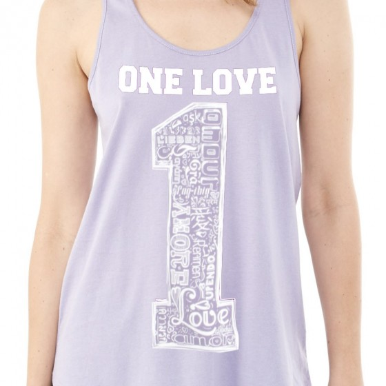 Dusty Plum Racerback Shirttail One Love Graphic Tank
