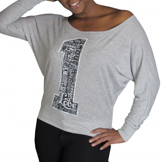 """One Love"" (Many languages of Love) Off the Shoulder Heather Grey"