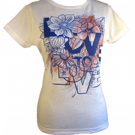 "Love to Love ""Wash Out"" White Graphic Tee"
