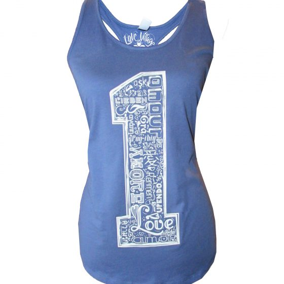 One Love (Many Languages of Love) Racerback Shirttail Jersey Tank