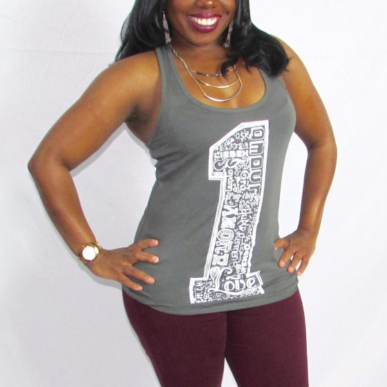One Love Dark Grey Racerback Tank