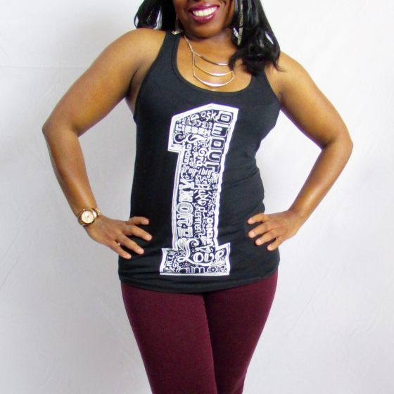 One Love Black Racerback Tank