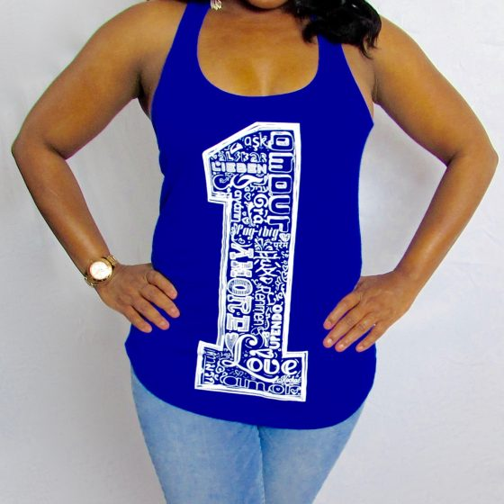 One Love Royal Blue Racerback Tank