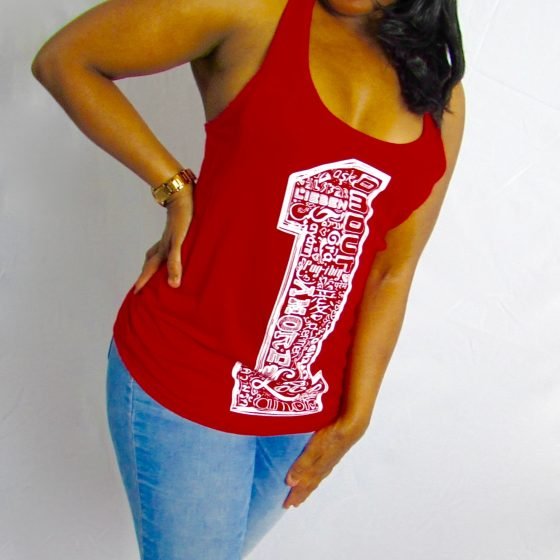 One Love Red Racerback Tank